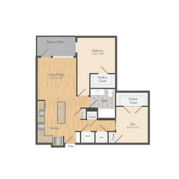 East- A10D One Bed 822 Sqft Floor Plan at Union Heights, Washington, DC