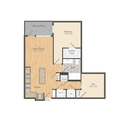 East- A9D One Bed 773 Sqft Floor Plan at Union Heights, Washington, DC, 20002