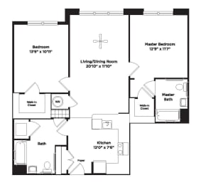 1028 square foot two bedroom apartment