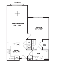 699 square foot one bedroom apartment, opens a dialog