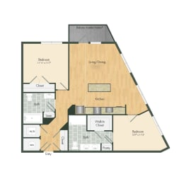 East- B10B Two Bed 1016 Sqft Floor Plan at Union Heights, Washington, DC
