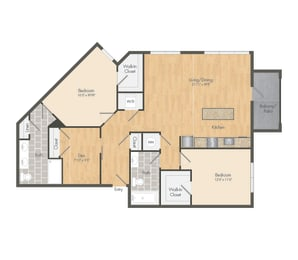 East- B11B Two Bed 1281 Sqft Floor Plan at Union Heights, Washington, 20002
