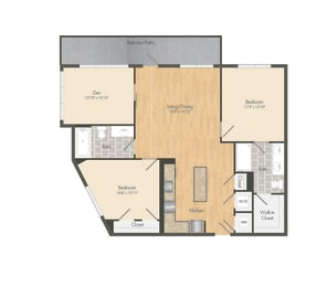 East- B12B Two Bed 1195 Sqft Floor Plan at Union Heights, Washington