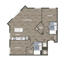 B1B Floor Plan at Park Kennedy, Washington, DC