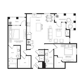 2 Bed 2 Bath Bergomot Floor Plan at Town Trelago, Florida