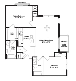 947 square foot two bedroom apartment, opens a dialog