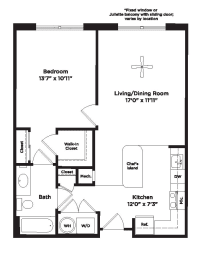 681 square foot one bedroom apartment, opens a dialog