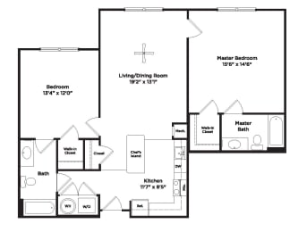 1070 square foot two bedroom apartment, opens a dialog