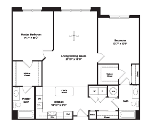 1222 square foot two bedroom apartment, opens a dialog