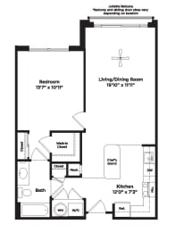 733 Square foot one bedroom apartment, opens a dialog