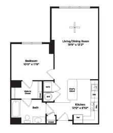 679 square foo one bedroom apartment