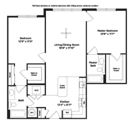 1017 square foot two bedroom apartment, opens a dialog