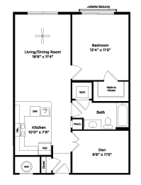 771 square foot one bedroom apartment with den space, opens a dialog
