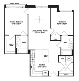 925 square foot two bedroom apartment, opens a dialog