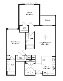 1079 square foot two bedroom apartment, opens a dialog
