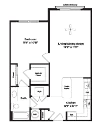 724 square foot one bedroom apartment, opens a dialog