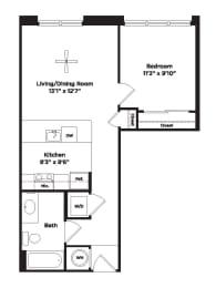 582 square foot studio apartment