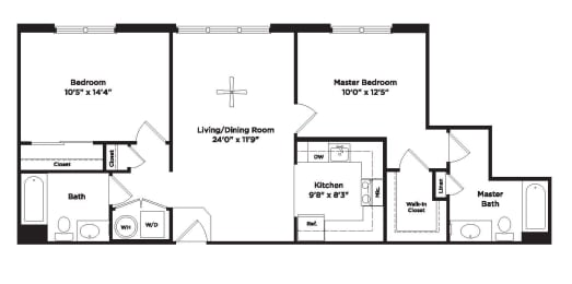 939 square foot two bedroom apartment, opens a dialog