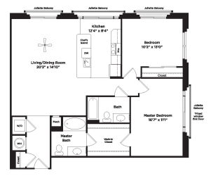 1160 square foot 2 bedroom apartment, opens a dialog