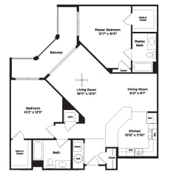 1117 square foot two bedroom apartment, opens a dialog