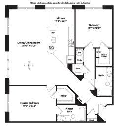 1289 square foot two bedroom apartment