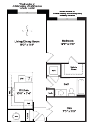 748 square foot one bed, opens a dialog