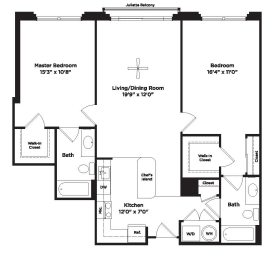 1058 square foot two bedroom apartment