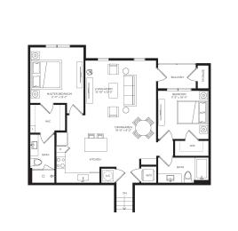 2 Bed 2 Bath Sunburst Floor Plan at Town Trelago, Maitland, FL, 32751