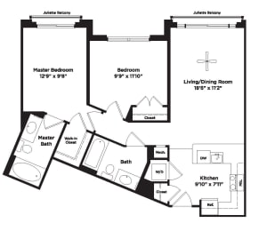 874 square foot two bedroom apartment, opens a dialog