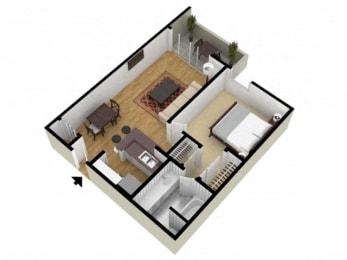 1 Bed 1 Bath Floor Plan