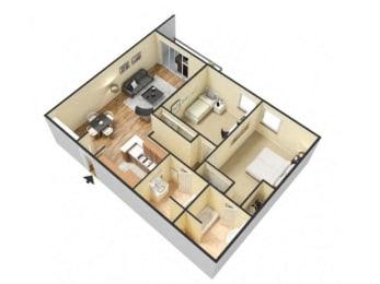 2 Bed 2 Bath Floor Plan