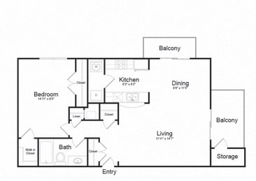 One Bed One Bath Floor plan at Ellicott Grove, Ellicott City, 21043