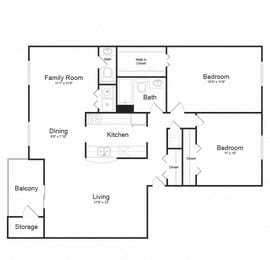 Two Bed One Bath Floor plan at Ellicott Grove, Maryland