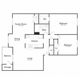 Two Bed One Bath Floor plan at Ellicott Grove, Ellicott City, Maryland