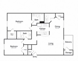2 Bed 2 Bath Floor plan at Ellicott Grove, Ellicott City