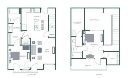 Ashwood Floorplan at 2100 Acklen Flats, Nashville, Tennessee