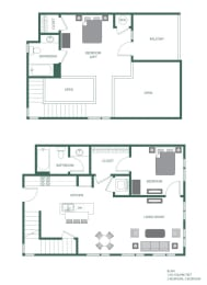 Blair Floorplan at 2100 Acklen Flats, Nashville, TN, 37212