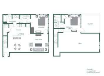Blakemore Floorplan at 2100 Acklen Flats, Nashville, TN