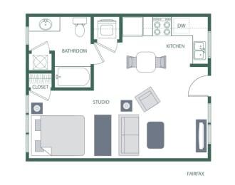 Fairfax Floorplan at 2100 Acklen Flats, Nashville, 37212