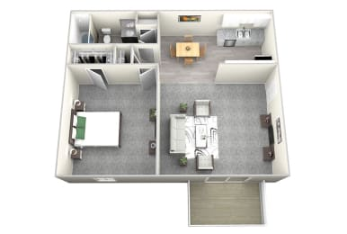 Nob Hill Apartments in Nashville - 1 Bedroom Floor Plan Apartment for Rent