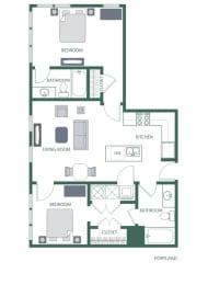 Portland Floorplan at 2100 Acklen Flats, Nashville