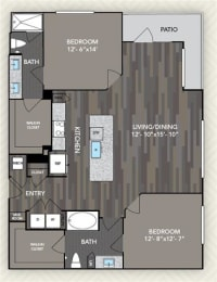 B2 Floor Plan at The Alden at Cedar Park, Cedar Park, TX