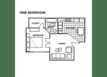 One bedroom floor plan at Cinnamon Tree Apartments in Albuquerque, MN