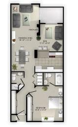 A1 Floor Plan at Augusta Court Apartments, Houston, TX