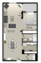 A3 Floor Plan at Augusta Court Apartments, Houston, Texas