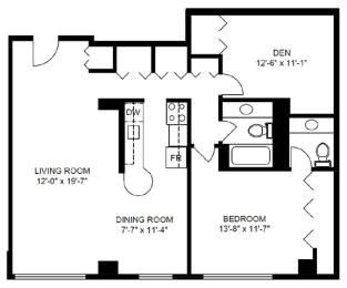Floor Plan 1 Bedroom with Den