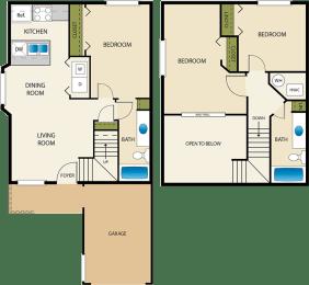 2 bedroom 2 bath Floor Plan at Devonshire Court Apartments & Townhomes, North Logan, Utah