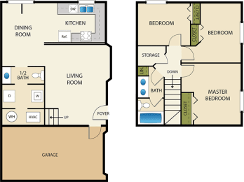 3 bedroom 2 bath Floor Plan at Devonshire Court Apartments & Townhomes, North Logan