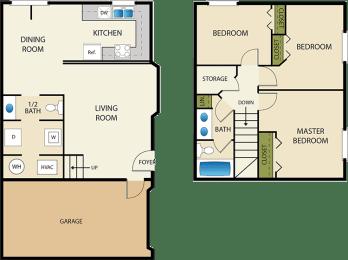 3 bedroom 2 bath Floor Plan at Devonshire Court Apartments & Townhomes, North Logan