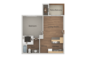 1 Bed 1 Bath Floor Plan at Glen Oaks Apartments, Glendale